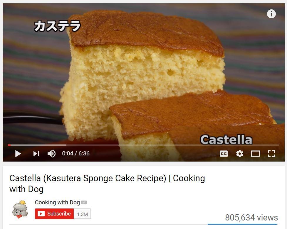 Screenshot from Castella cake video recipe