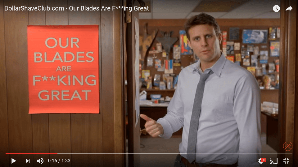 Screenshot from Dollar Shave Club video