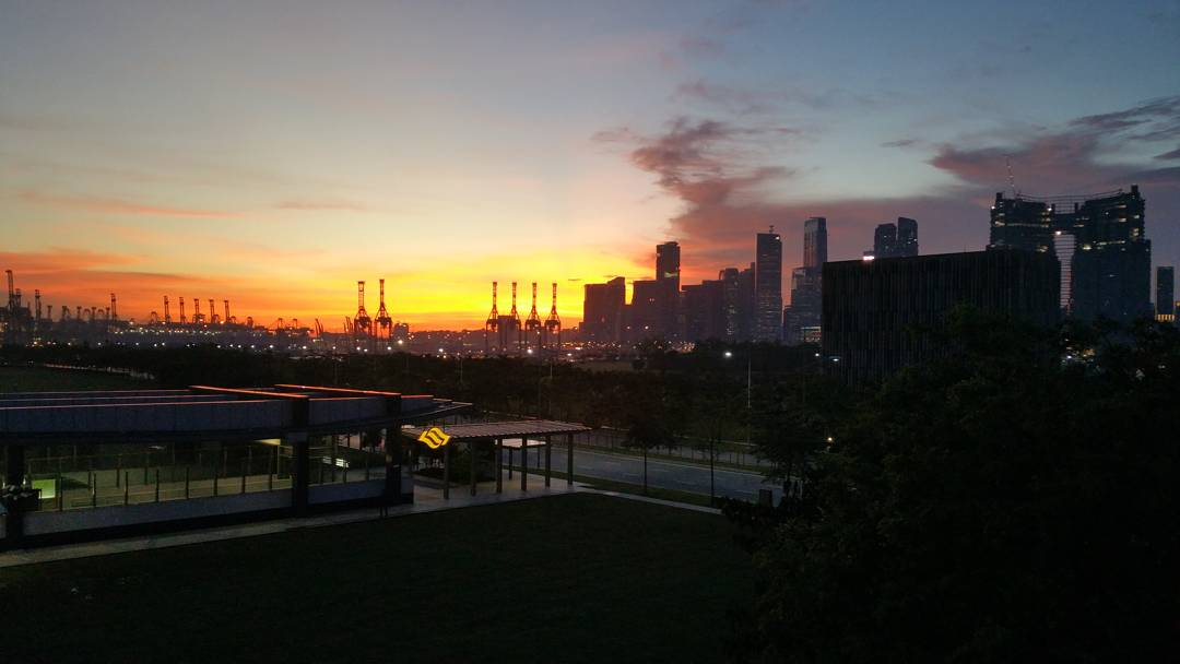 Sunset and the Singapore skyline